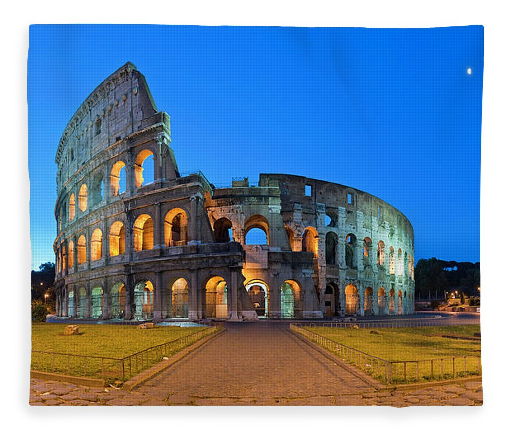 Arch Fleece Blanket featuring the photograph Rome Coliseum Ancient Roman by Fotovoyager