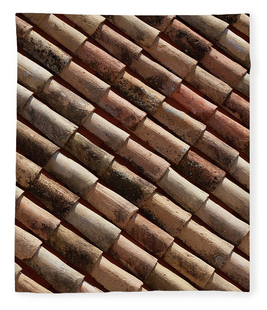 In A Row Fleece Blanket featuring the photograph Rooftop In Dubrovnik Old Town by Martin Child