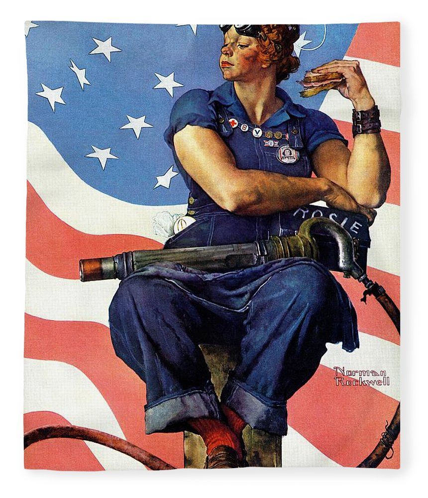 Factories Fleece Blanket featuring the drawing Rosie The Riveter by Norman Rockwell