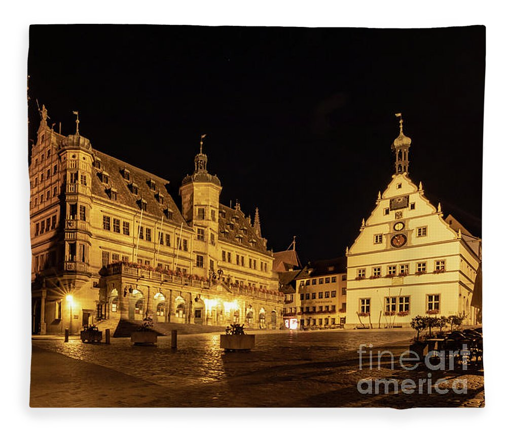 Rothenburg Fleece Blanket featuring the photograph Rothenburg Market Square by Norma Brandsberg