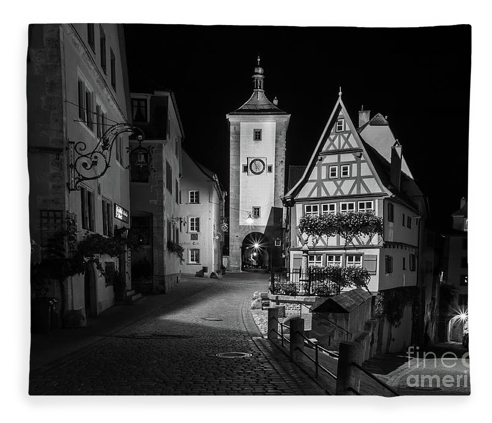 Rothenburg Germany Fleece Blanket featuring the photograph Rothenburg Ob Tauber Clock Tower by Norma Brandsberg