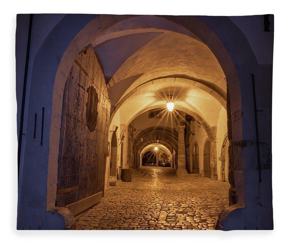 Rothenburg Fleece Blanket featuring the photograph The Open Door by Norma Brandsberg