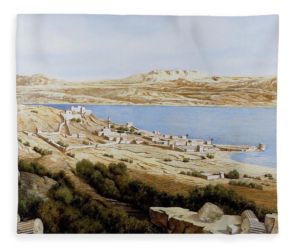 Tiberias Fleece Blanket featuring the painting rovine a Tiberiade by Guido Borelli