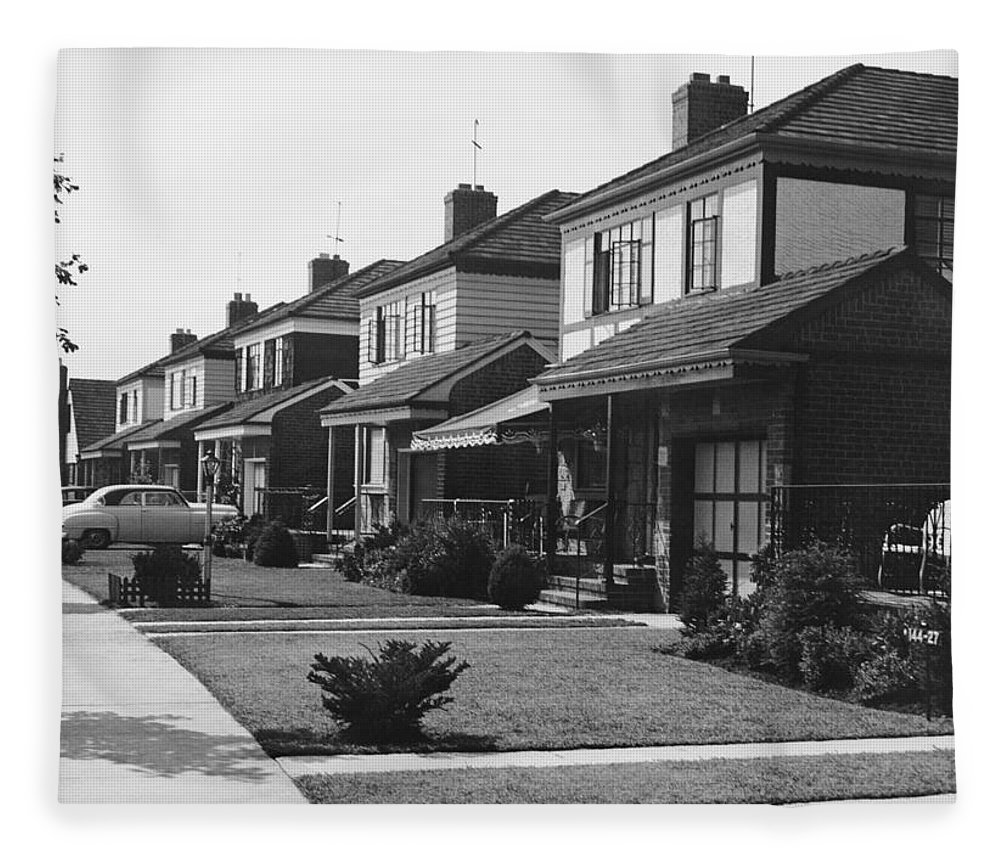 1950-1959 Fleece Blanket featuring the photograph Row Of Houses by George Marks