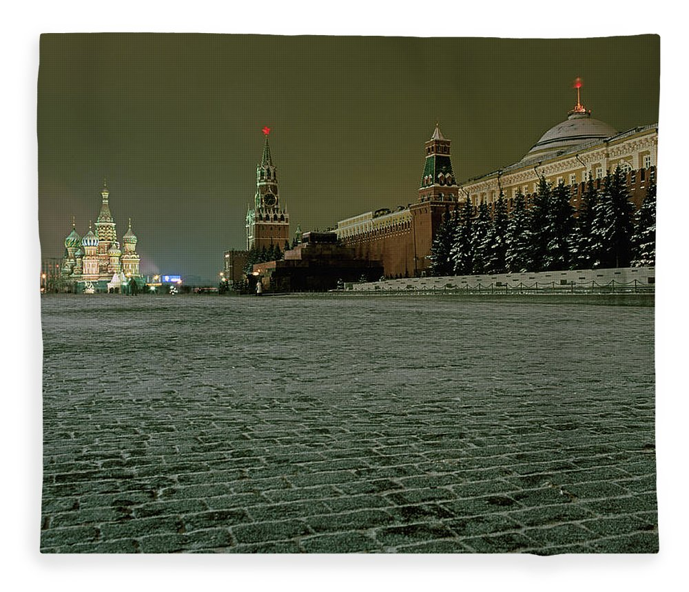 Outdoors Fleece Blanket featuring the photograph Russia, Moscow, Red Square And Kremlin by Hans Neleman