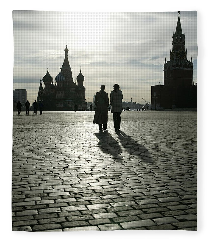 Shadow Fleece Blanket featuring the photograph Russia, Moscow, Red Square, Silhouette by Will & Deni Mcintyre