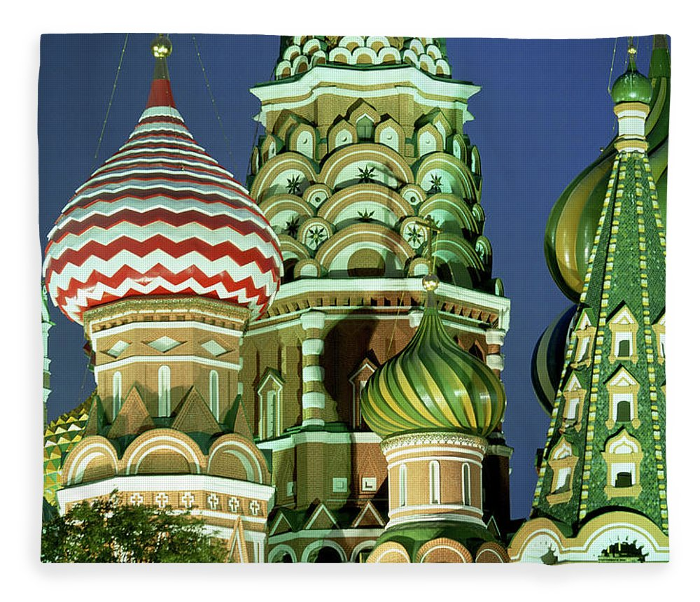 Travel14 Fleece Blanket featuring the photograph Russia, Moscow, Red Square, St Basils by Peter Adams