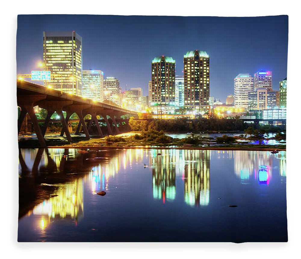 Tranquility Fleece Blanket featuring the photograph Rva Summer Night - Richmond Va On The by Sky Noir Photography By Bill Dickinson