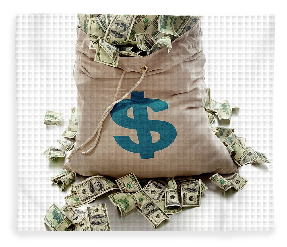 White Background Fleece Blanket featuring the photograph Sack Of Cash by John Kuczala