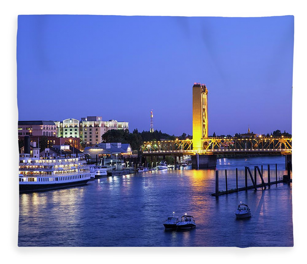 Scenics Fleece Blanket featuring the photograph Sacramento River And Tower Bridge At by Picturelake