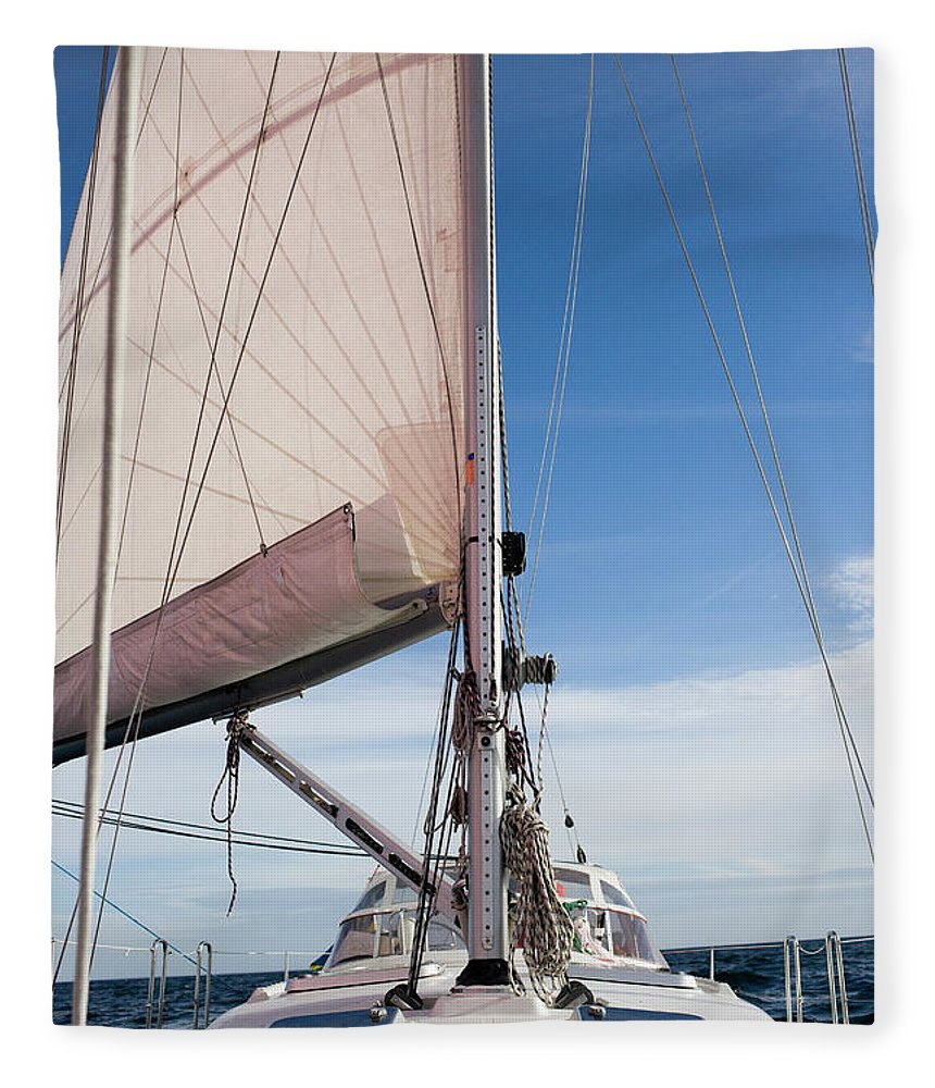 Baltic Sea Fleece Blanket featuring the photograph Sailing Boat In Sea by Bjurling, Hans