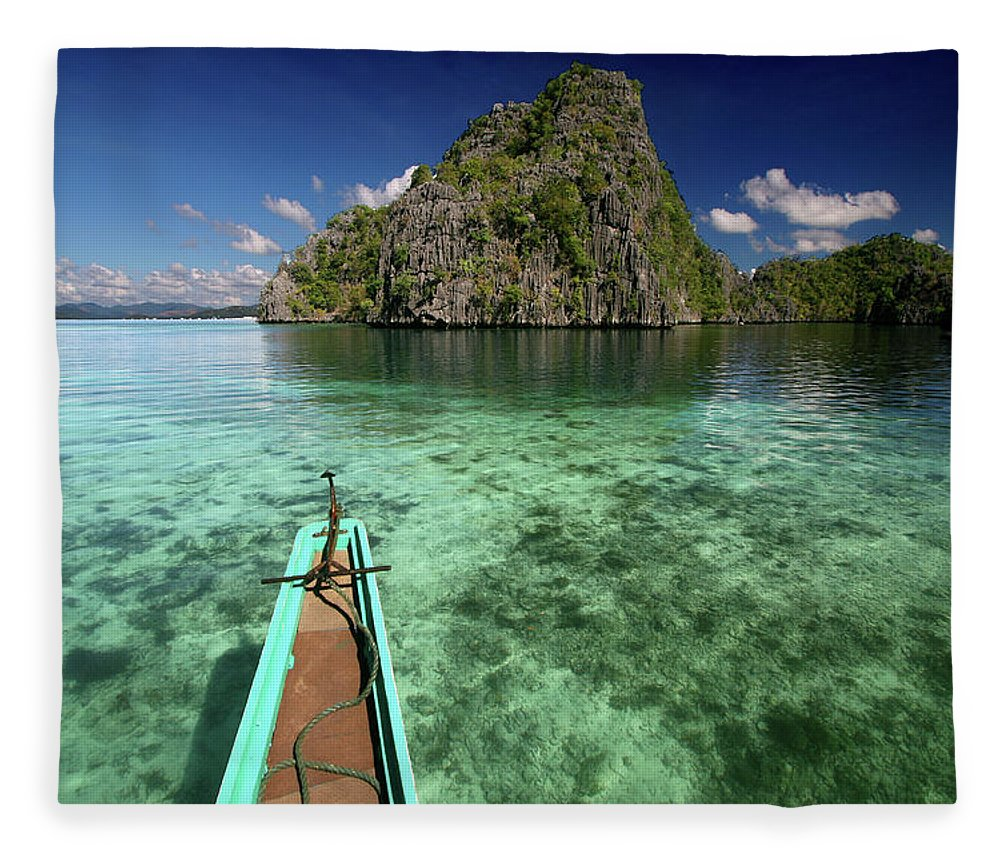 Tranquility Fleece Blanket featuring the photograph Sailing Over Coral Coron by Photo ©tan Yilmaz