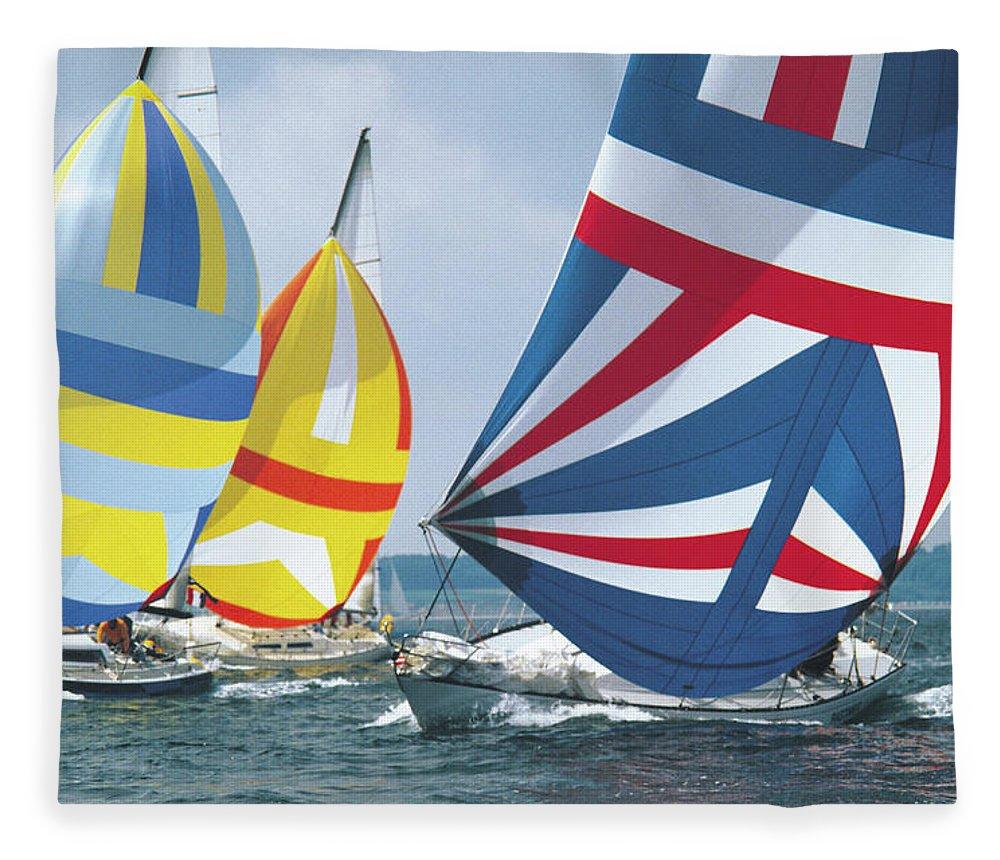 Wind Fleece Blanket featuring the photograph Sailing Race by John Foxx