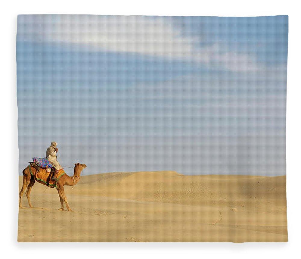 Tranquility Fleece Blanket featuring the photograph Sam Sand Dunes Near Jaisalmer, Rajasthan by Cultura Rm Exclusive/karen Fox