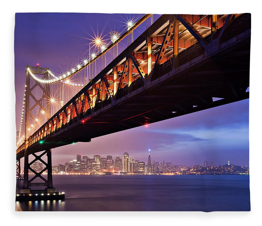 Tranquility Fleece Blanket featuring the photograph San Francisco Bay Bridge by Photo By Mike Shaw