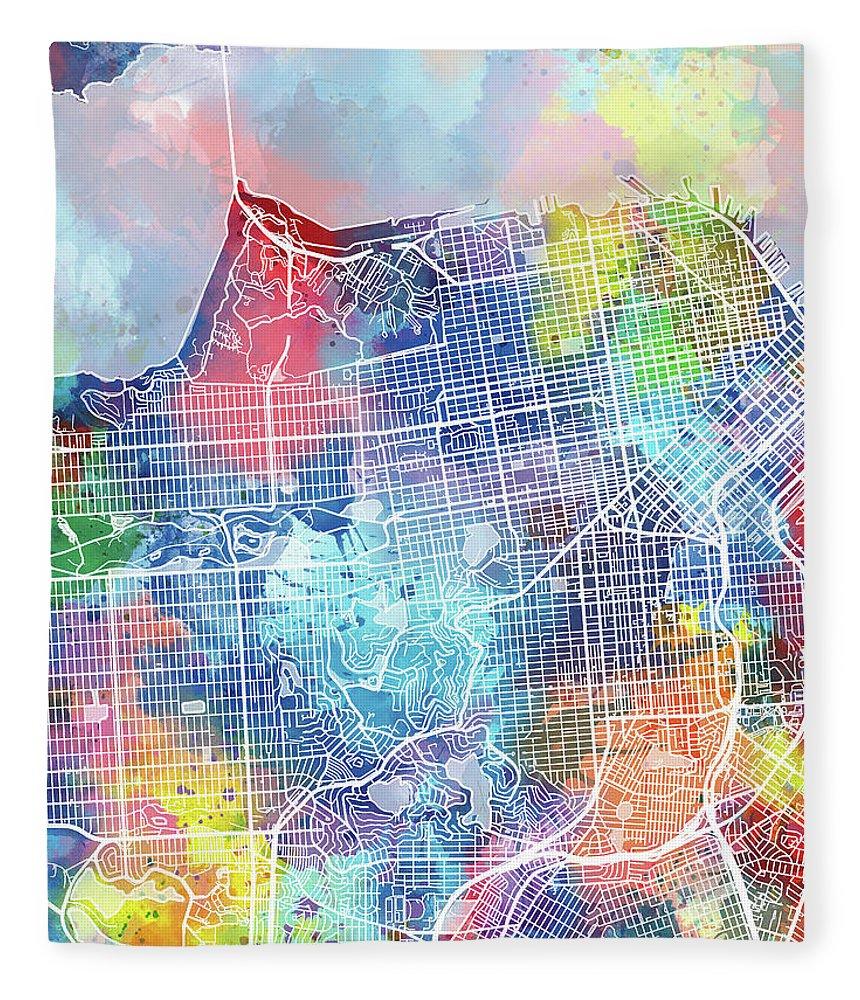 San Francisco Fleece Blanket featuring the digital art San Francisco Map Watercolor by Bekim M
