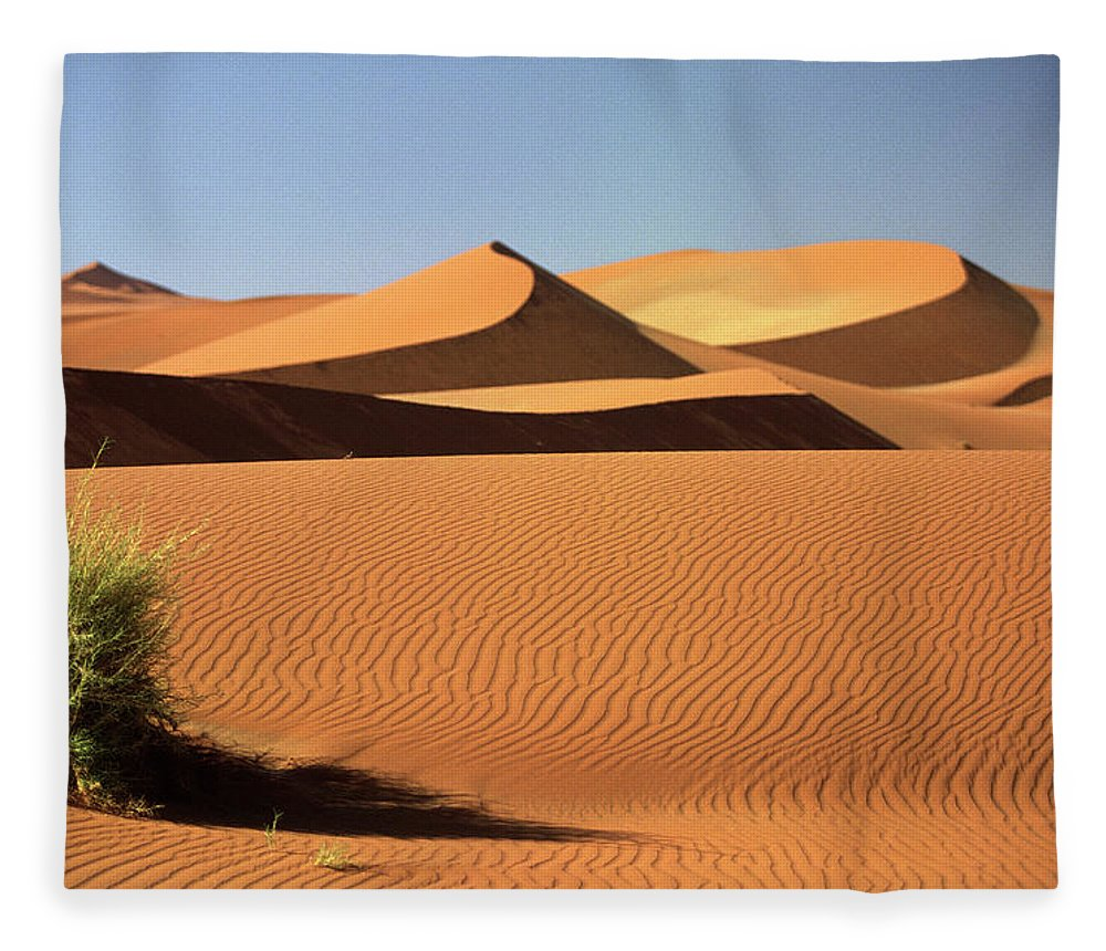 Shadow Fleece Blanket featuring the photograph Sand Dunes In Namib Desert, Namibia by Walter Bibikow