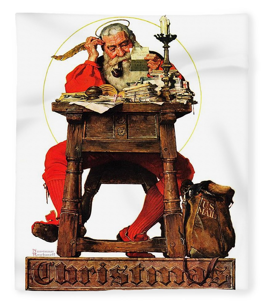 Christmas Fleece Blanket featuring the drawing Santa At His Desk by Norman Rockwell