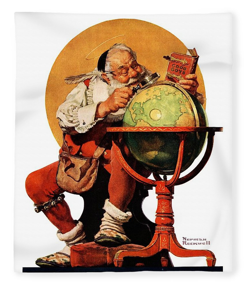 Globes Fleece Blanket featuring the drawing Santa At The Globe by Norman Rockwell