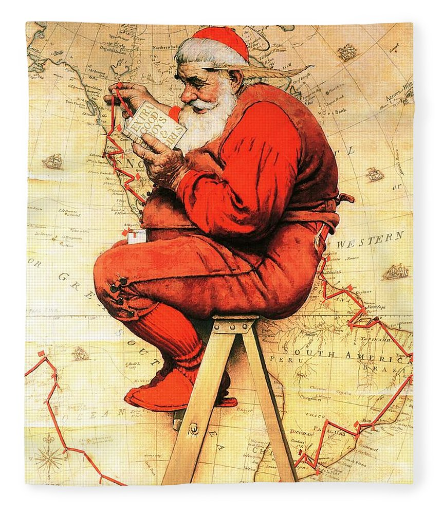 Christmas Fleece Blanket featuring the drawing Santa At The Map by Norman Rockwell