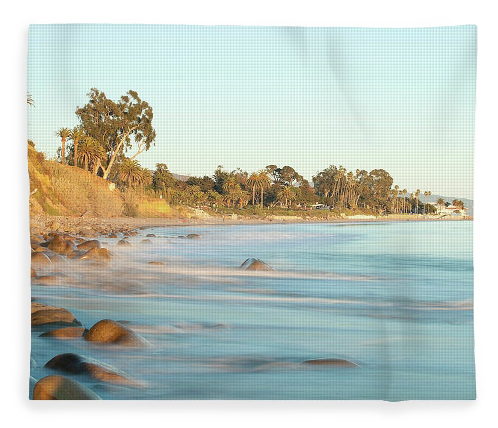 Water's Edge Fleece Blanket featuring the photograph Santa Barbara by Andrewhelwich