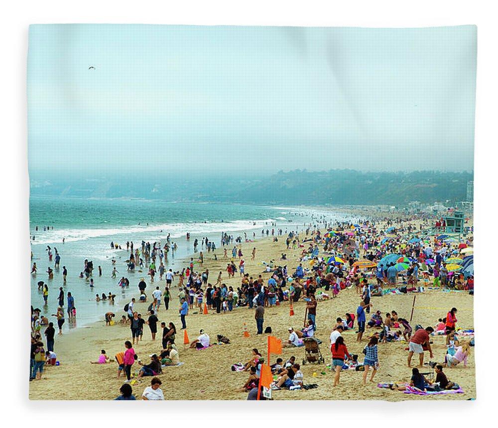 Water's Edge Fleece Blanket featuring the photograph Santa Monica Beach by Daniel Shapiro
