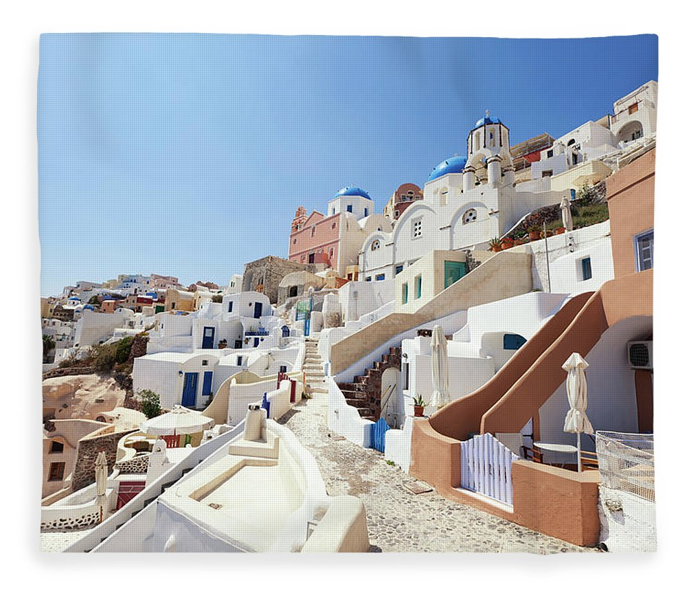 Steps Fleece Blanket featuring the photograph Santorini, Churches And Houses by Richmatts