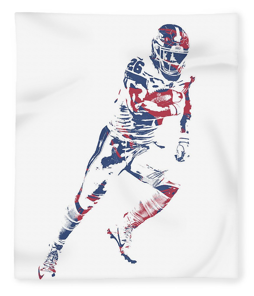 Saquon Barkley Fleece Blanket featuring the mixed media Saquon Barkley New York Giants Pixel Art 13 by Joe Hamilton