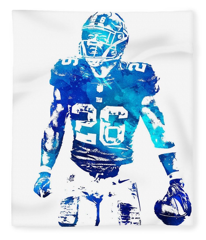 Saquon Barkley Fleece Blanket featuring the mixed media Saquon Barkley New York Giants Water Color Pixel Art 11 by Joe Hamilton
