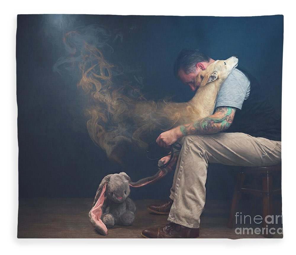 Say Fleece Blanket featuring the photograph Man Saying Goodbye To His Dog by Travis Patenaude