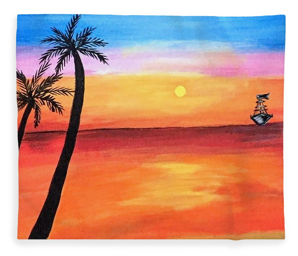 Canvas Fleece Blanket featuring the painting Scenary by Aswini Moraikat Surendran