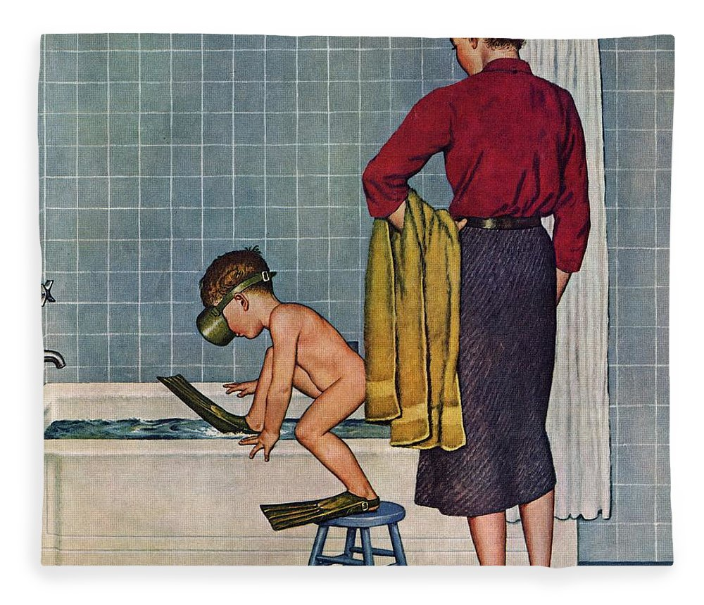 Bathing Fleece Blanket featuring the drawing Scuba In The Tub by Amos Sewell
