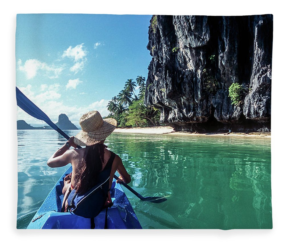 Southeast Asia Fleece Blanket featuring the photograph Sea Kayaking by John Seaton Callahan