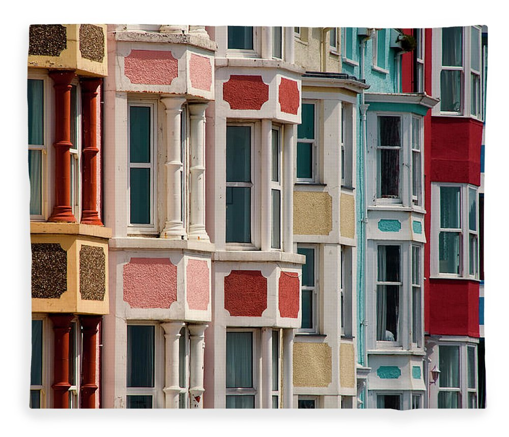 Row House Fleece Blanket featuring the photograph Seafront Houses, Aberdovey, Wales by David Tait
