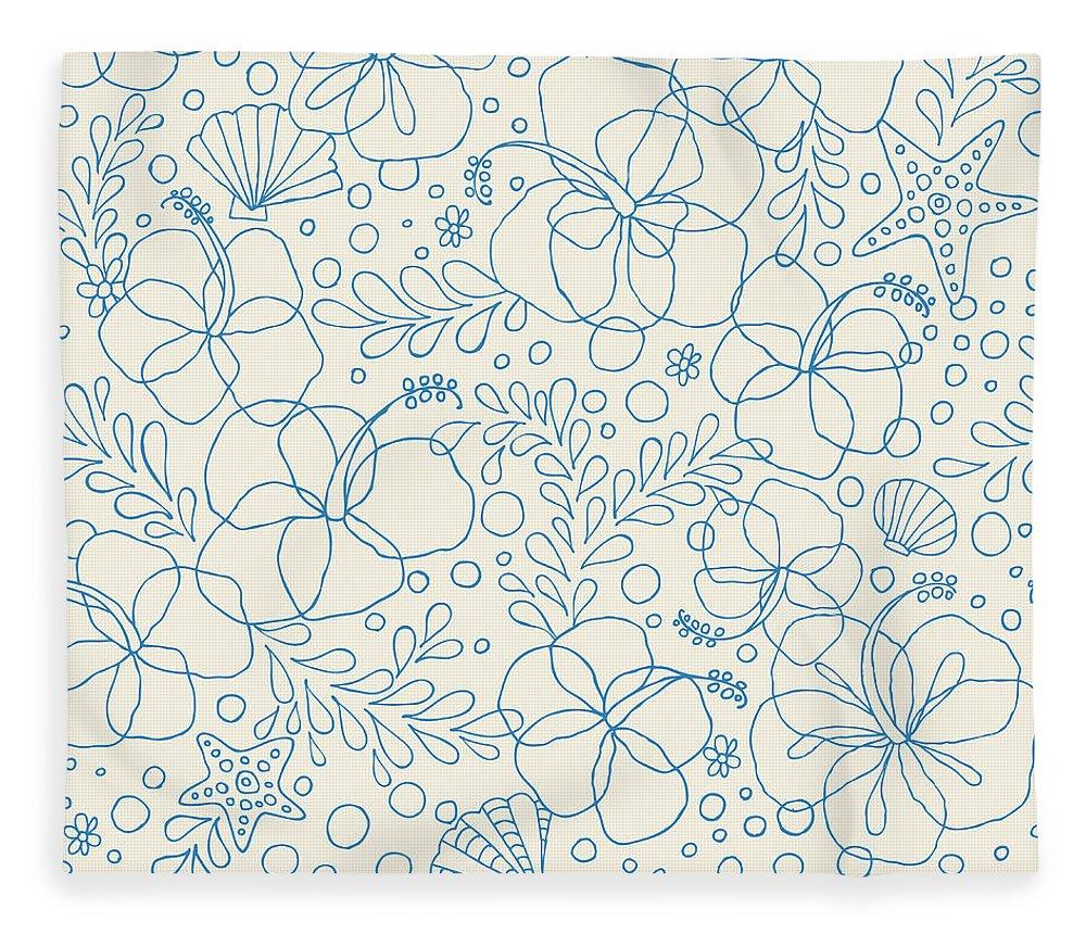 Spray Fleece Blanket featuring the digital art Seamless Hibiscus Floral Pattern by Gelatoplus