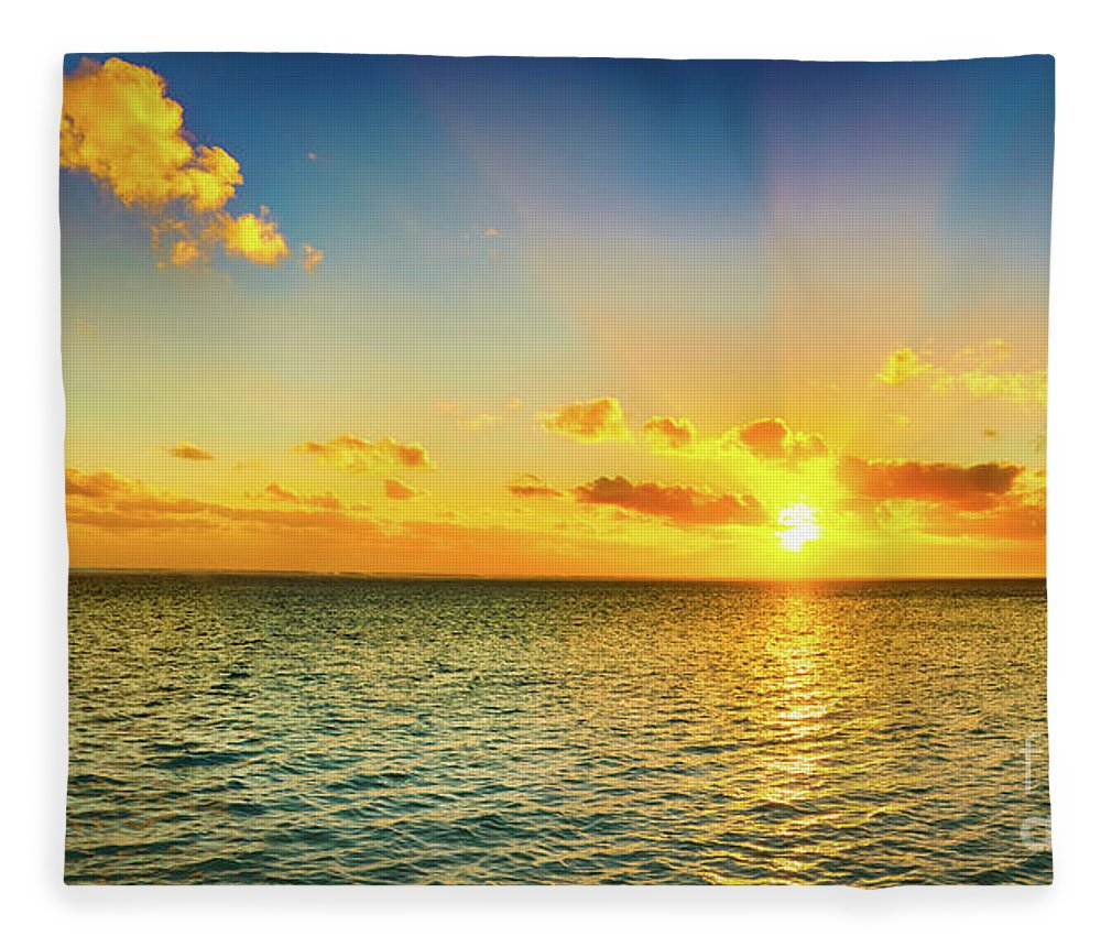 Panorama Fleece Blanket featuring the photograph Seascape At Sunset. Panorama by MotHaiBaPhoto Prints