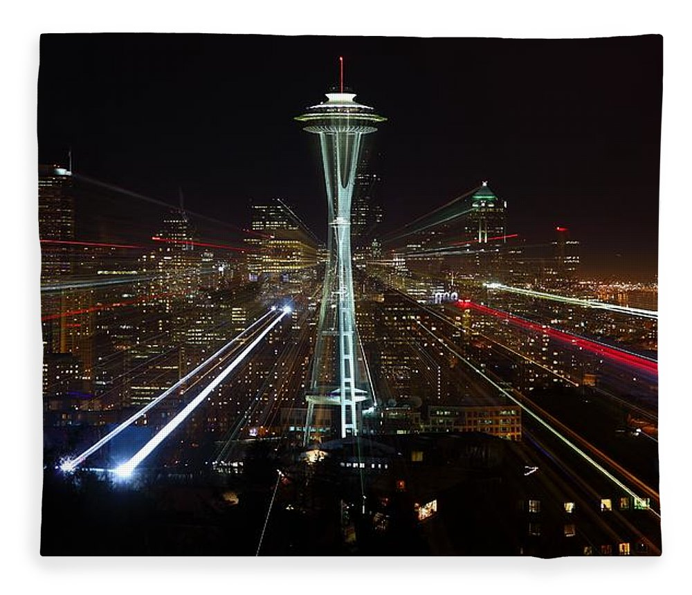 Laser Fleece Blanket featuring the photograph Seattle Skyline Laser Show by Jonkman Photography
