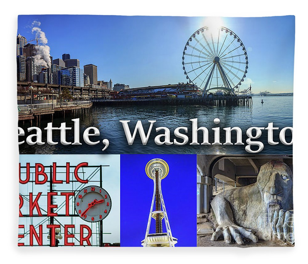 Seattle Fleece Blanket featuring the photograph Seattle Washington Waterfront 02 by G Matthew Laughton