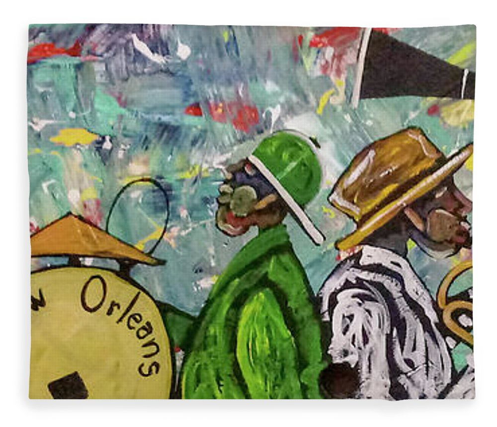 Jazz Fleece Blanket featuring the painting Second Line 13 by Guilbeaux Gallery
