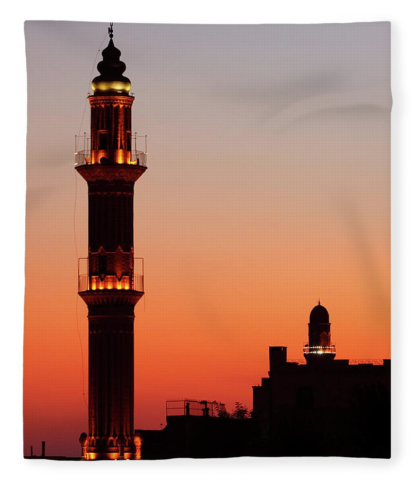 Built Structure Fleece Blanket featuring the photograph Sehidiye Mosque Minaret by Wu Swee Ong