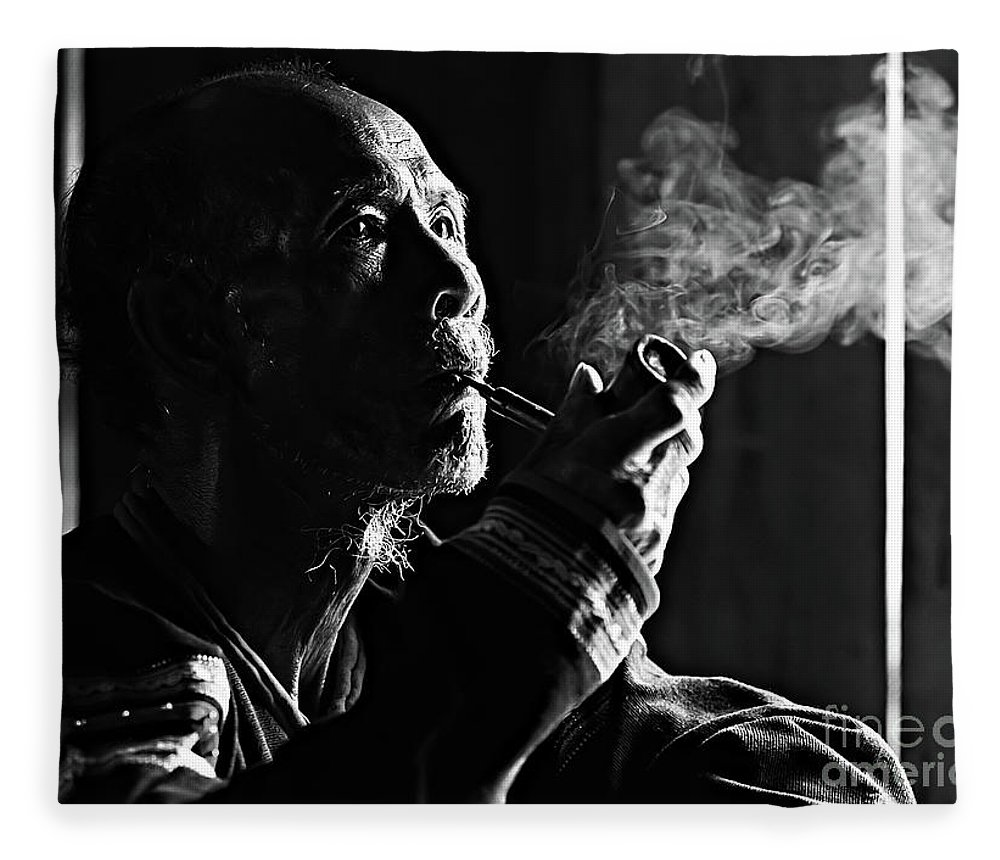 Asian And Indian Ethnicities Fleece Blanket featuring the photograph Senior Man Smoking Pipe, Vietnam by Tran Anh Linh