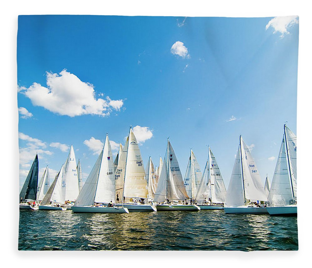 Sailboat Fleece Blanket featuring the photograph Several Sailboats by Helena Wahlman
