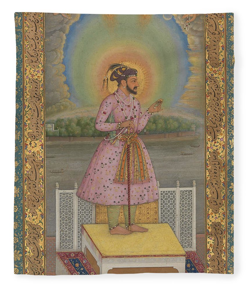Indian Fleece Blanket featuring the painting Shah Jahan On A Terrace by Chitarman