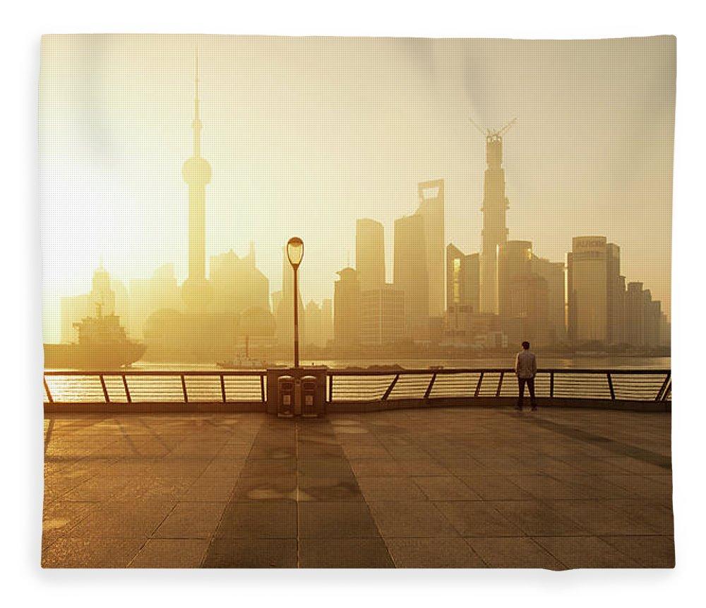 Tranquility Fleece Blanket featuring the photograph Shanghai Sunrise At Bund With Skyline by Spreephoto.de
