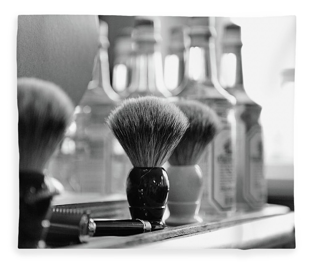 Office Fleece Blanket featuring the photograph Shaving Brushes At Barbershop by Lorado