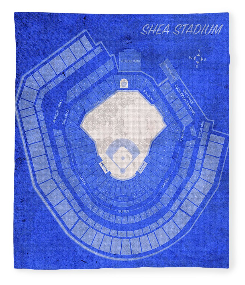 Shea Stadium Fleece Blanket featuring the mixed media Shea Stadium New York Seating Chart Vintage Patent Blueprint by Design Turnpike