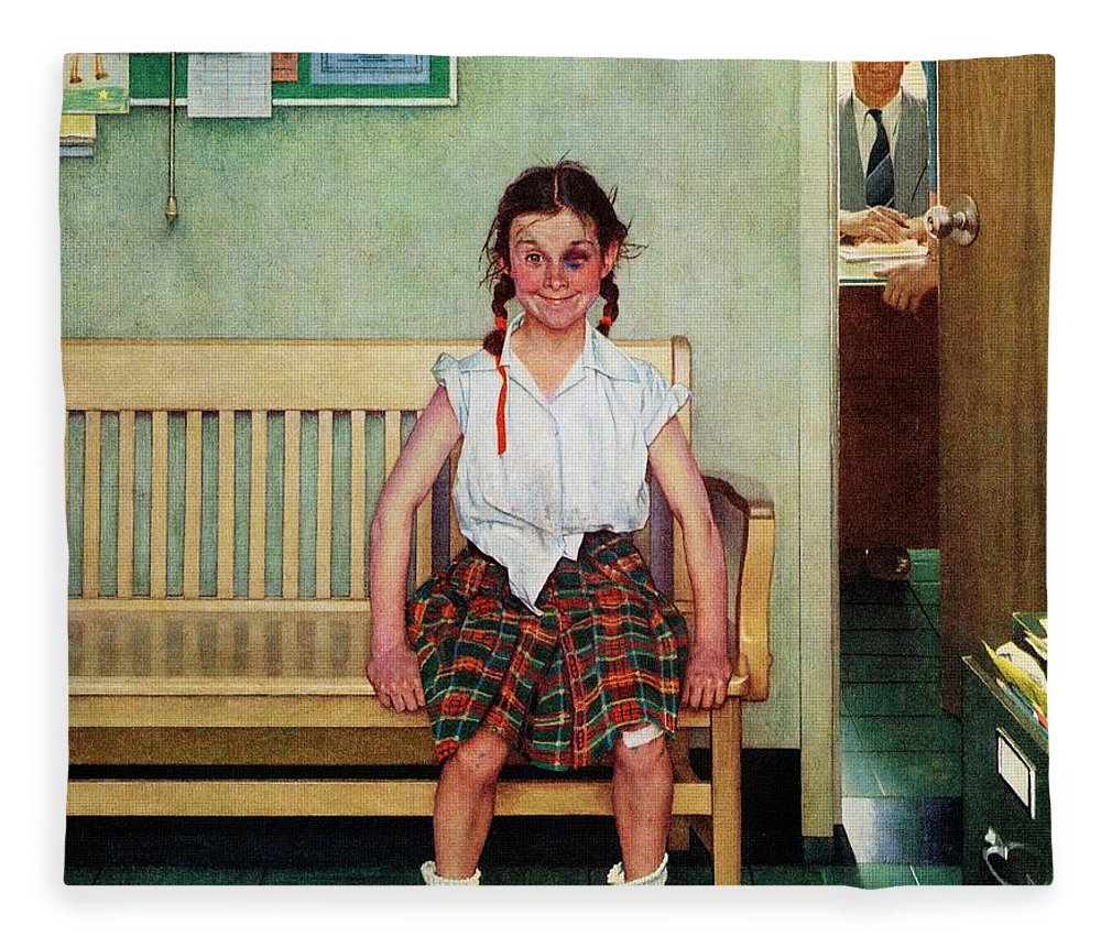 Black Eyes Fleece Blanket featuring the drawing Shiner by Norman Rockwell