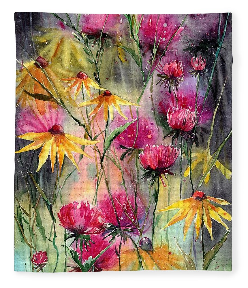 Rudbeckia Fleece Blanket featuring the painting Shiny Rudbeckia And Thistle by Suzann Sines