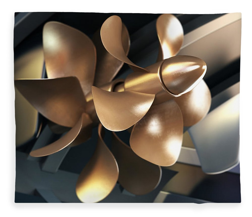 Engine Fleece Blanket featuring the photograph Ship Propeller by Adventtr