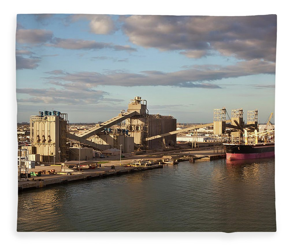 Refinery Fleece Blanket featuring the photograph Shipping Industry by Vallariee